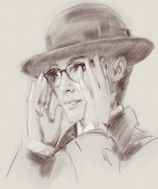 Набросок Дианы в очках, цифровая сепия