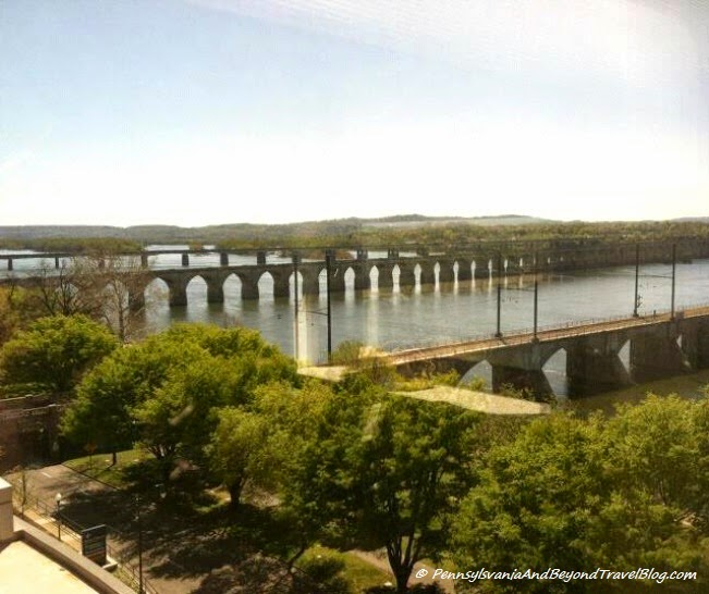 Harrisburg City Island and the Susquehanna River Bridges