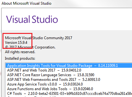 how to check visual studio version