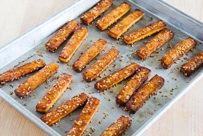 Baked Sesame Tofu Sticks With Peanut Butter And Tahini