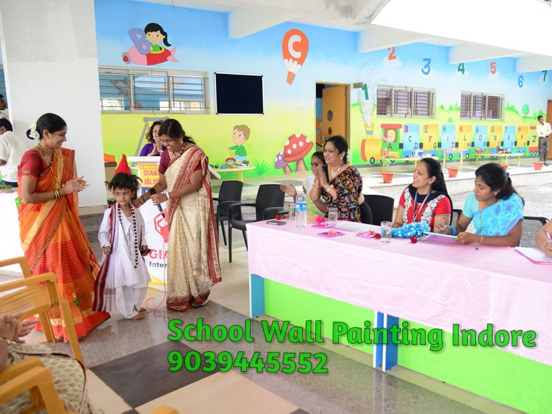 Wall Decoration At School : Play school wall painting and decoration