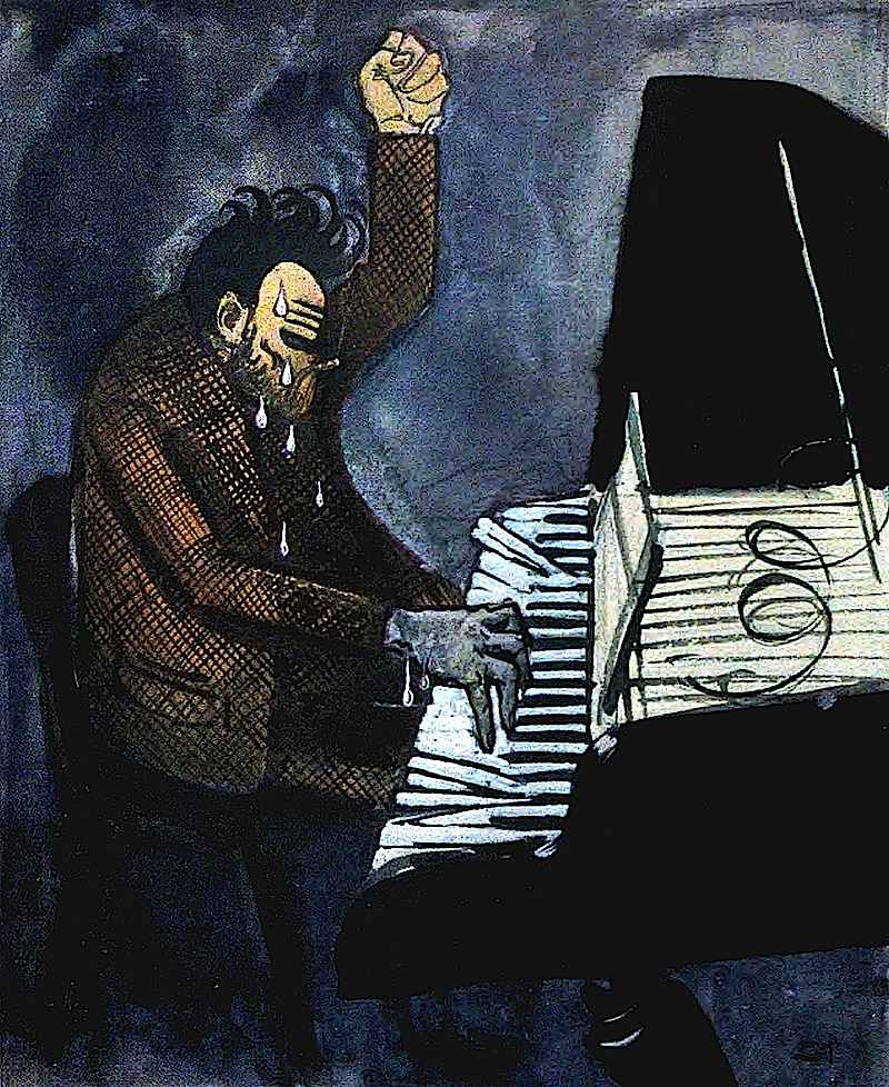 1917 tortured musician, pounding piano keys