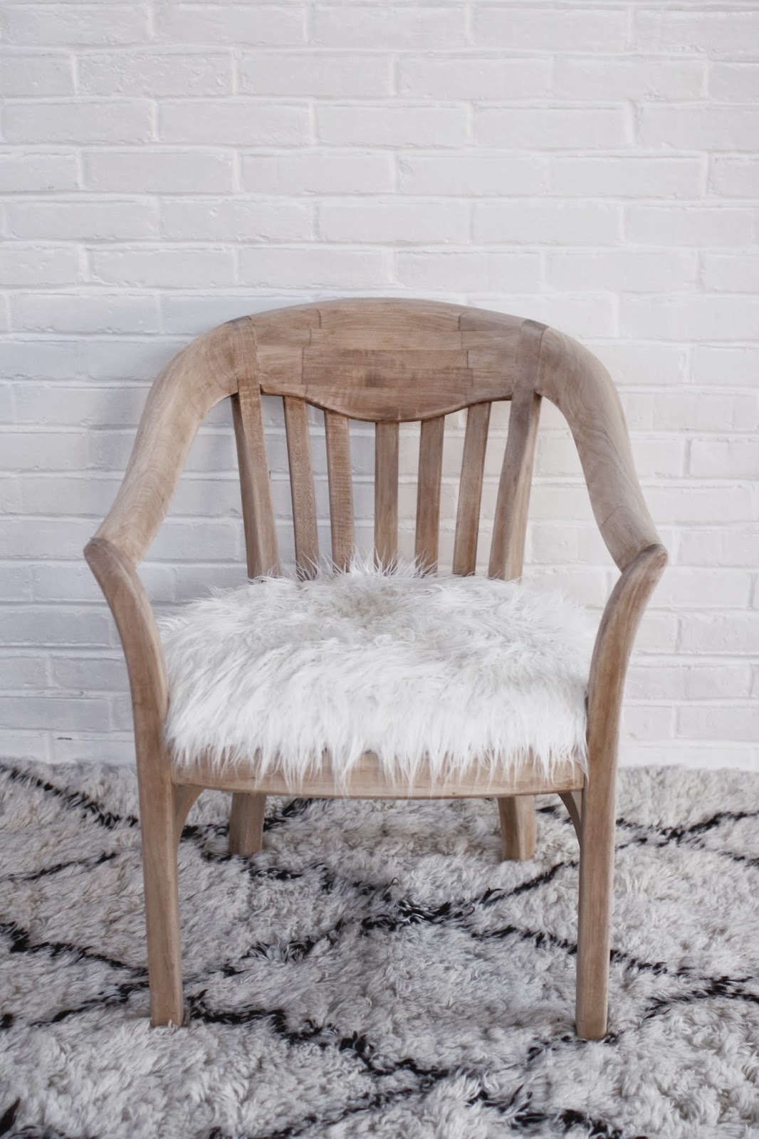so fancy before  after faux fur chair makeover