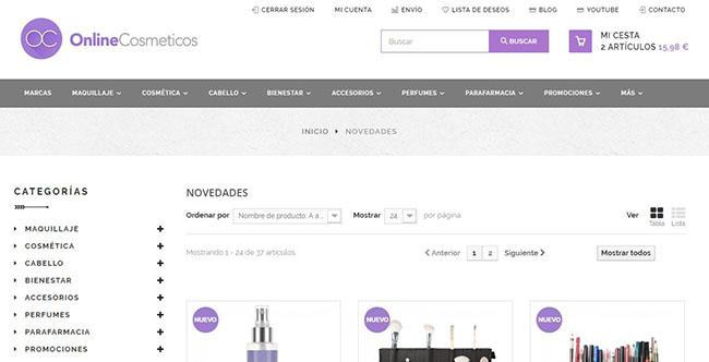 Novedades de maquillaje y cosmética en onlinecosmeticos.es