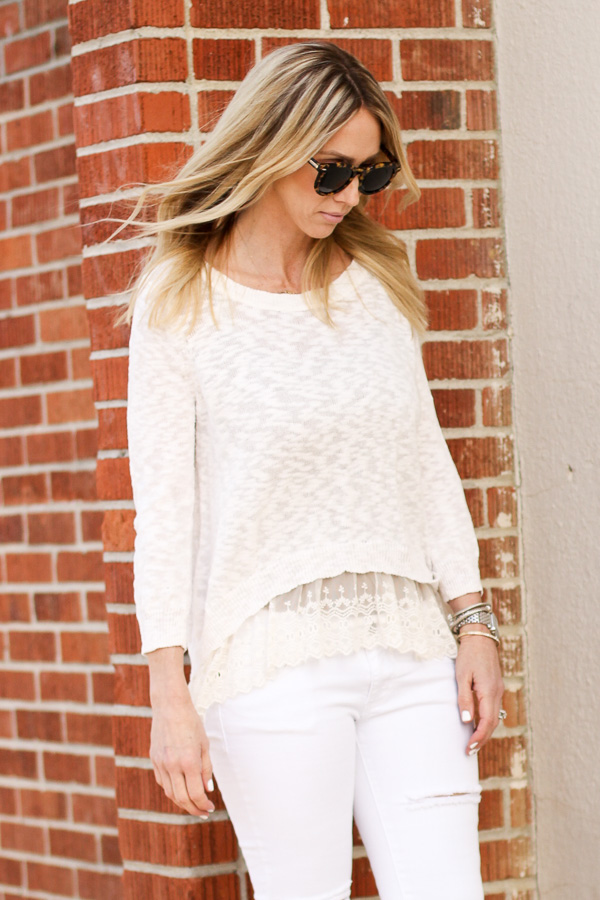 lace layered tank sweater distressed jeans