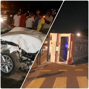 J'pura bus topples after colliding with drunk lady-driver's car