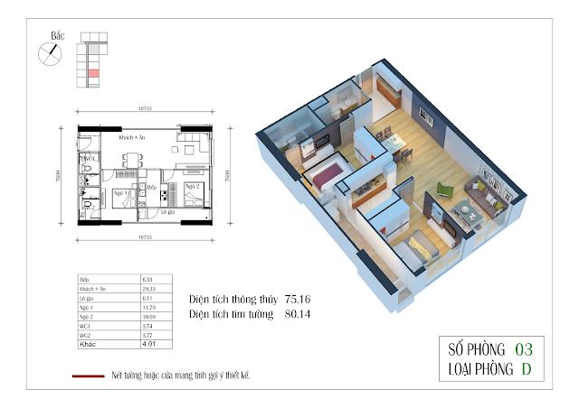 Thiết kế căn hộ số 03: 75,16m2