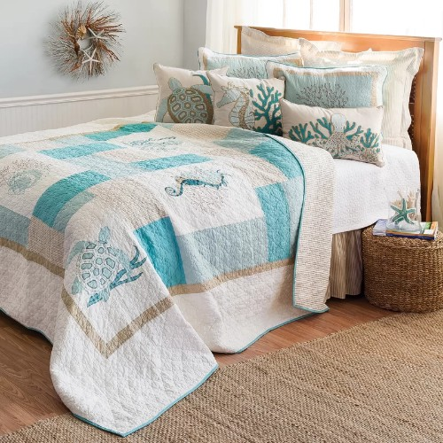 Coastal Color Block Cotton Quilt