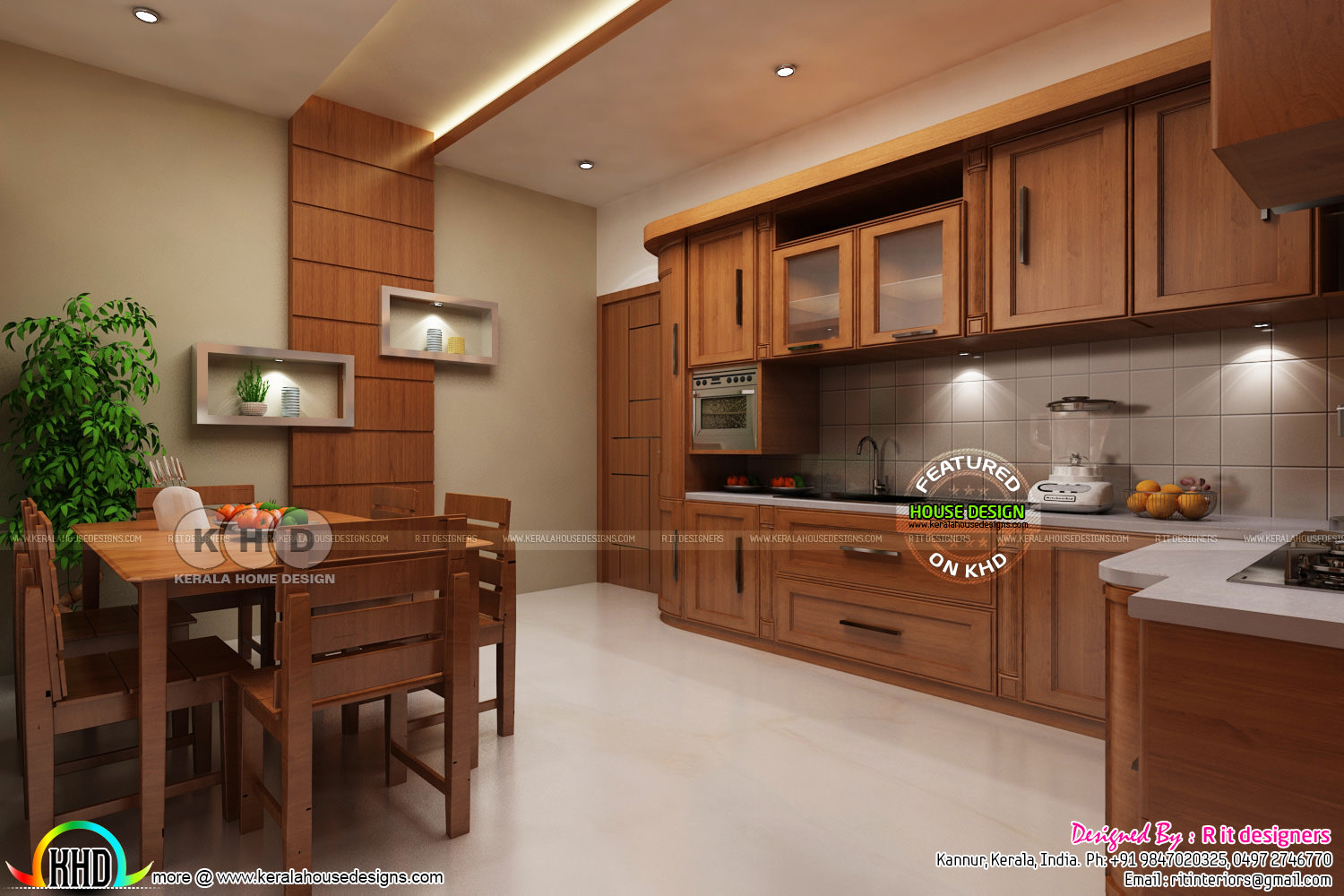 dining kitchen interior designs  kerala home design and