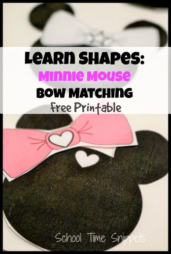 Minnie Mouse Shape Sorting Printable For Kids School Time Snippets