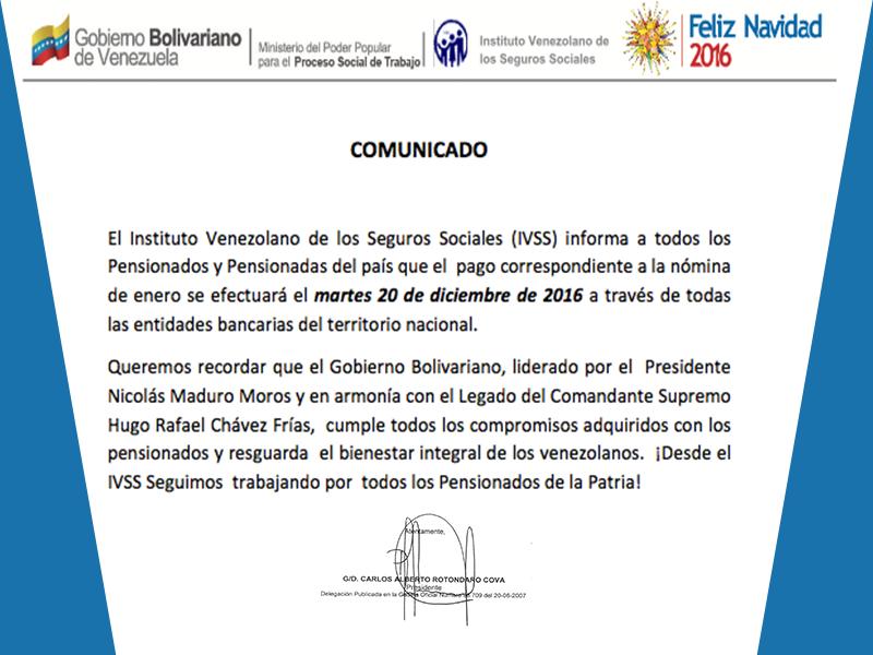 IVSS: Pago de pensiones se hará efectivo el 20 de diciembre