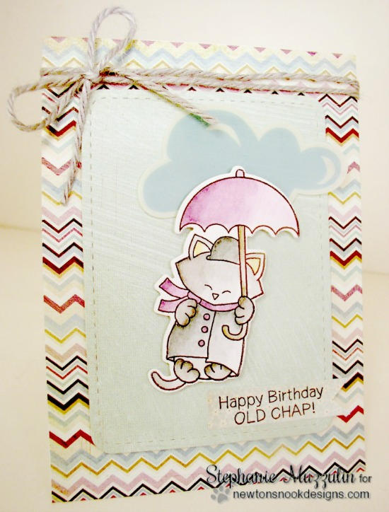 Cat with Umbrella Card by Stephanie Muzzulin | Newton Dreams of London 4 x 6 Cat Stamp set by Newton's Nook Designs #newtonsnook #london