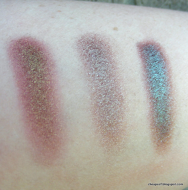 Swatches of Makeup Geek Ritzy, Prestige Bewitched, and duochrome from Wet N Wild Comfort Zone palette