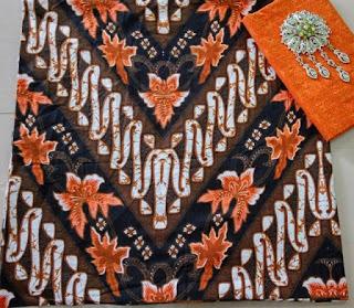 Kain Batik dan Embos AD 2938 Motif Parang Orange