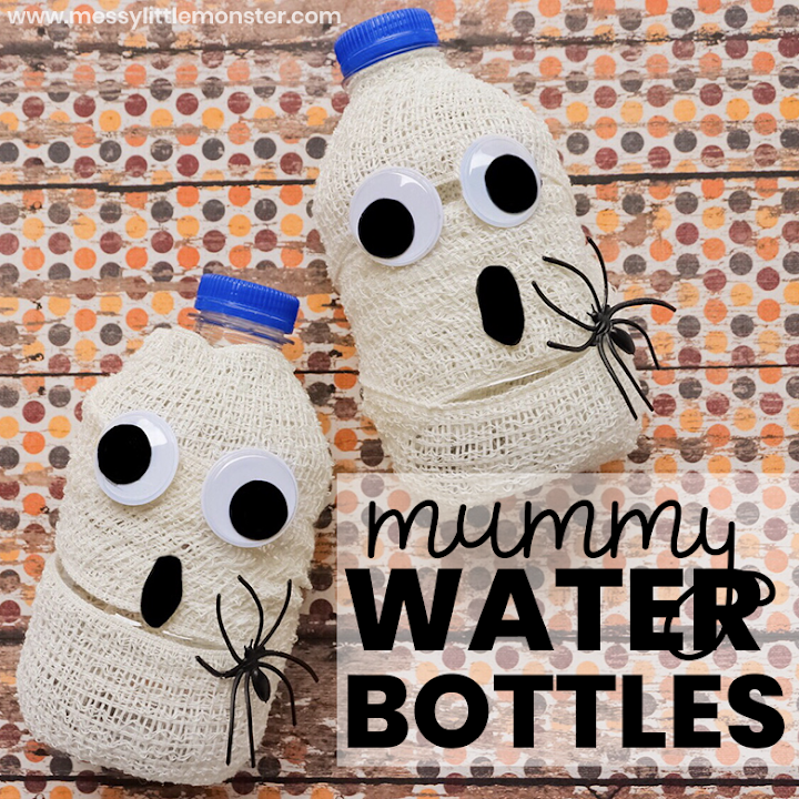 Easy Halloween Treats for Kids -mummy water bottle