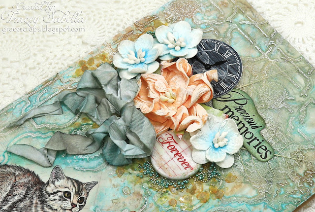 Mixed media sympathy card by Tracey Sabella for ScrapBerry's. Also using Prima Finnabair waxes and art mediums, Lindy's Stamp Gang Starburst MIsts, Distress Ink, and Art Anthology Stencil.