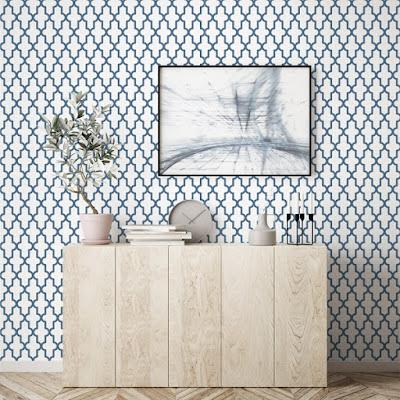 Interior de Estilo nórdico con papel de pared Geométrico