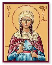Icono de la santa con una cruz en la mano