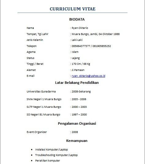 Format Cv Keren | Example Good Resume Template