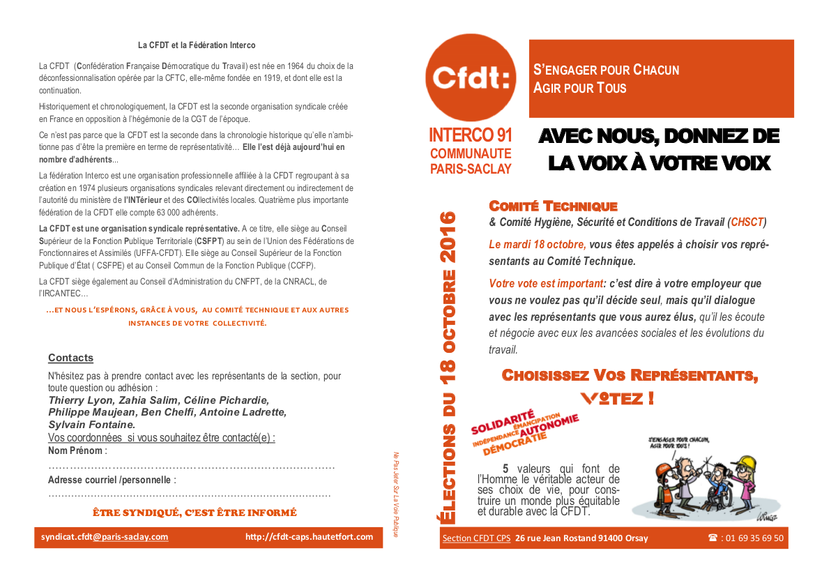 Cfdt interco91 communaut paris saclay les lections for Election chsct