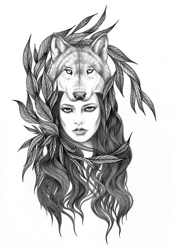 """She-Wolf"" by Andrea Hrnjak | dibujos bonitos a lapiz | imagenes lindas | illustration art | lobos"