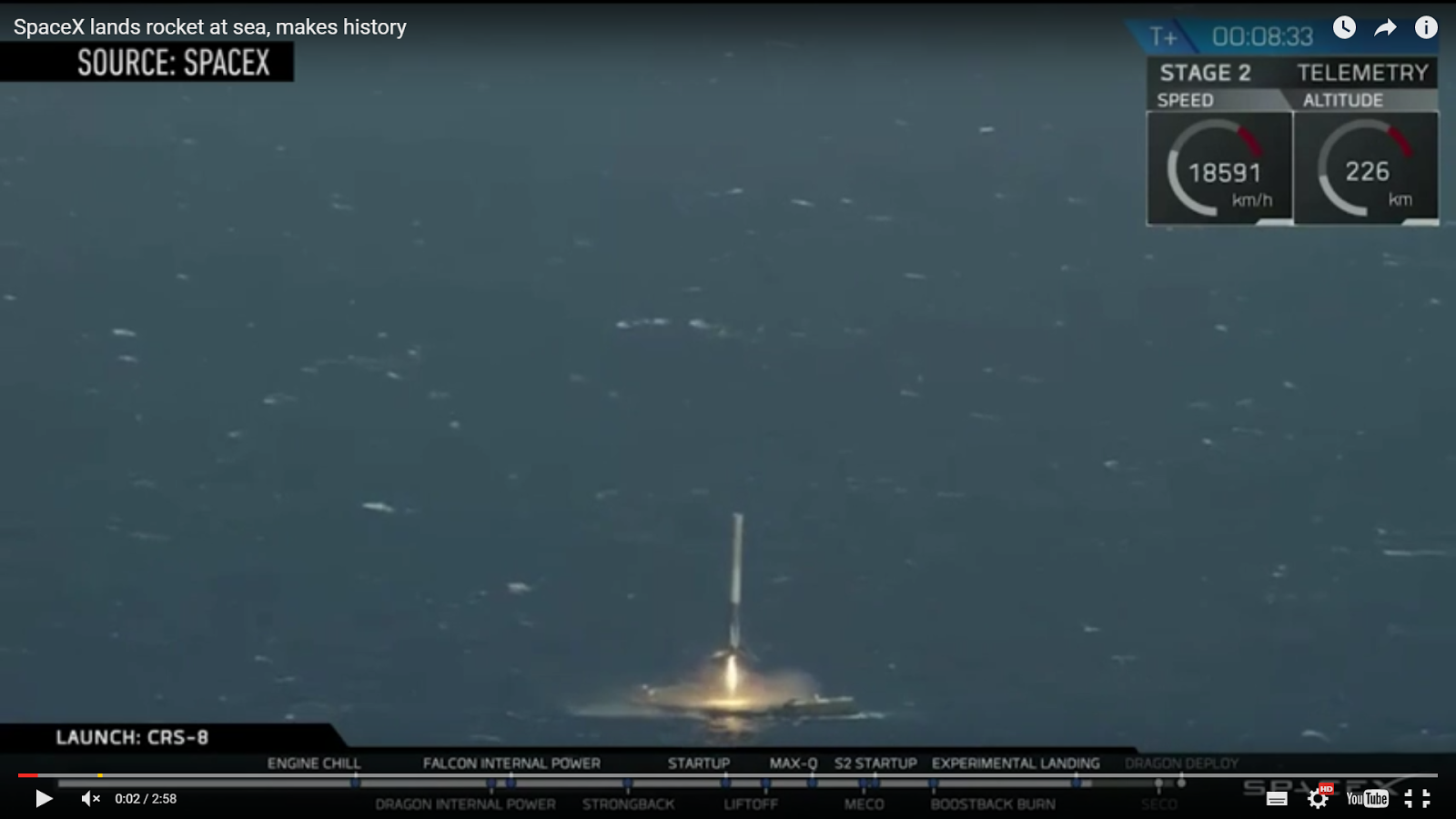 WATCH: History Made as SpaceX Lands Rocket on Drone Ship at Sea