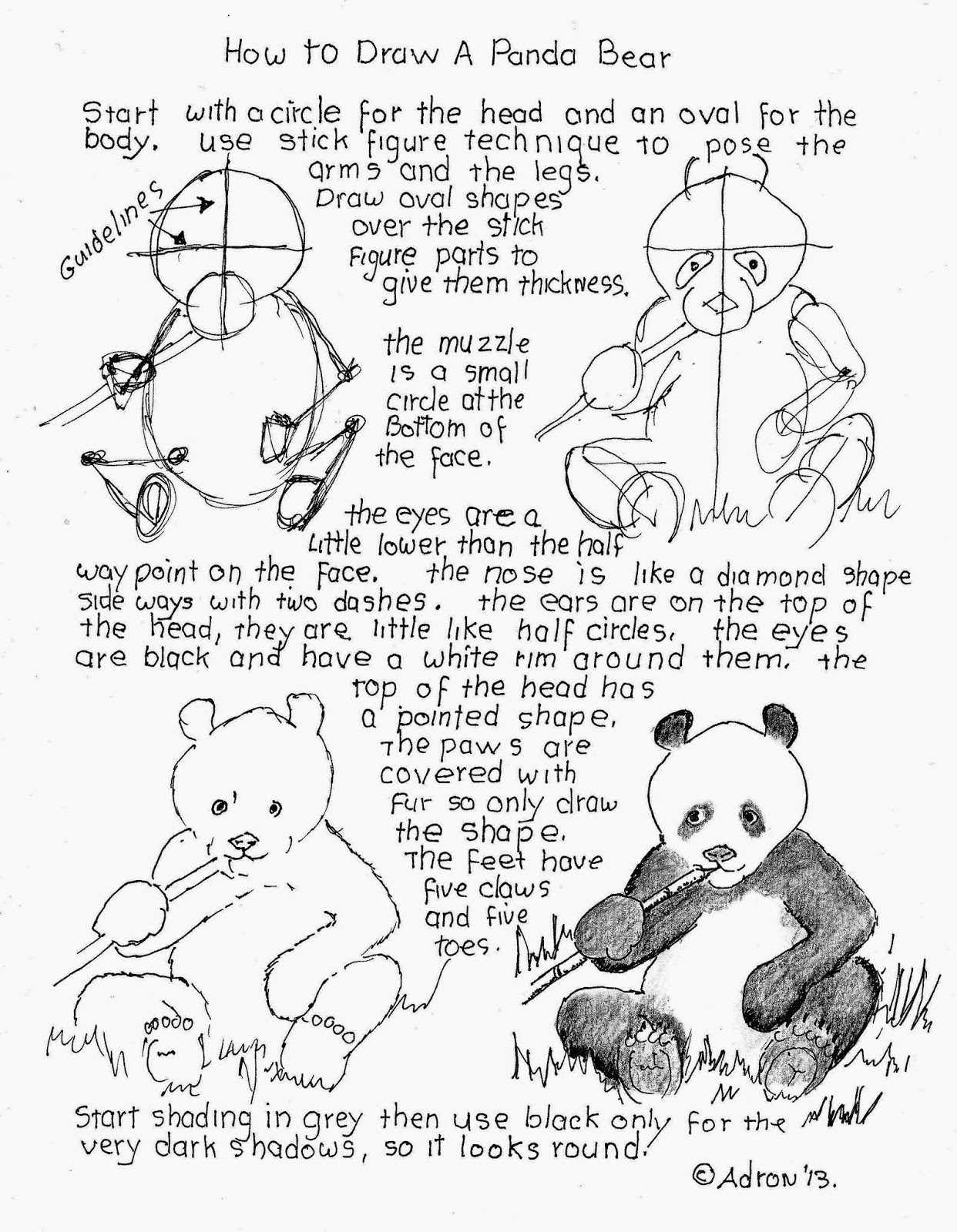 How To Draw Worksheets For The Young Artist How To Draw A Panda Bear Lesson And Worksheet