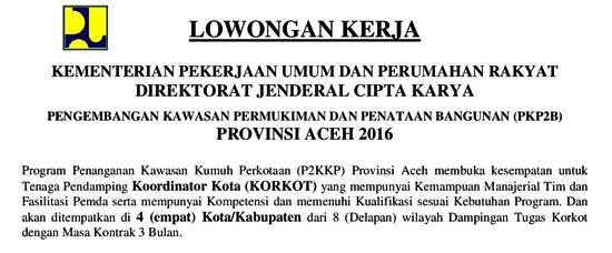 Lowongan Kerja Koordinator Kota P2KKP