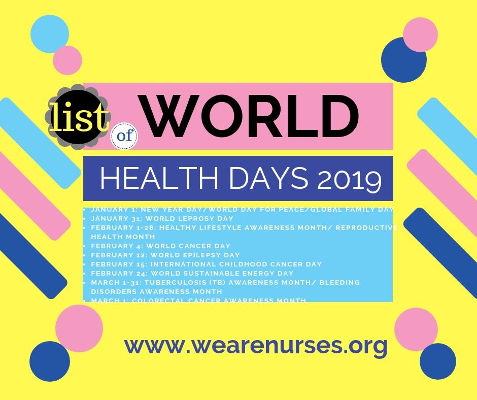 World Health Days Calendar 2019 Health Day List 2019 We Are Nurse