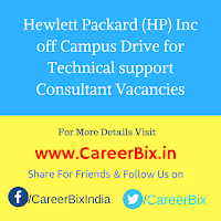 Hewlett Packard (HP) Inc off Campus Drive for Technical support Consultant Vacancies