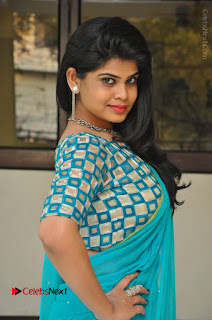 Telugu Actress Alekhya Stills in Green Saree at Swachh Hyderabad Cricket Press Meet  0018.JPG
