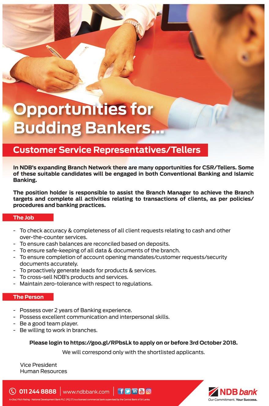 NDB Bank Job Vacancies