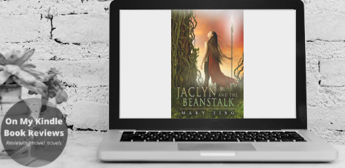 Computer screen mockup with front cover image of JACLYN AND THE BEANSTALK by Mary Ting.