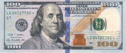 tờ 100 usd lại in hình chân dung Benjamin Franklin