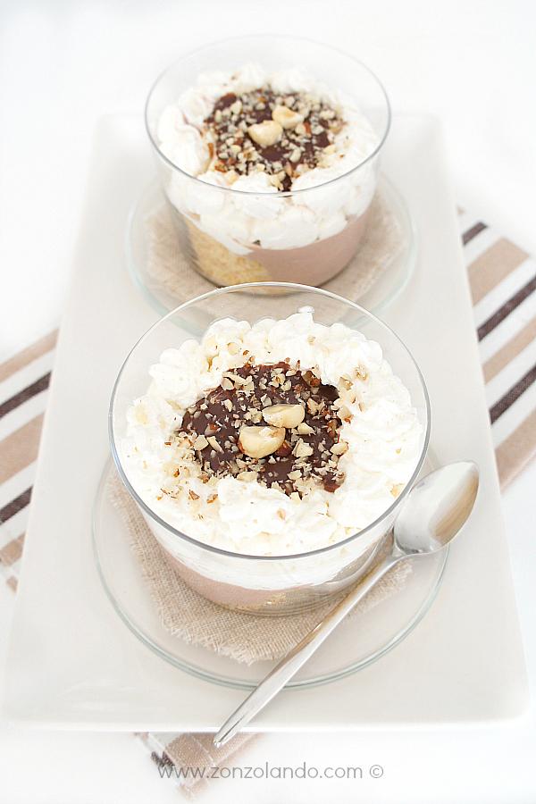 Coppe dolci di cioccolato, nocciole e ricotta ricetta light recipe chocolate and ricotta mousse bowls