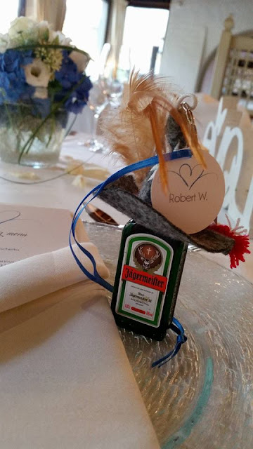 Wedding favors for men in Bavaria - Jaegermeister and key ring holders - Wedding dinner in blue and cream white at lake Riessersee Hotel, wedding venue in Garmisch, Bavaria, Germany, lake terrace #wedding venue #wedding abroad #Bavaria #Germany #Riessersee at lake Riessersee Hotel, wedding venue in Garmisch, Bavaria, Germany, lake terrace #wedding venue #wedding abroad #Bavaria #Germany #Riessersee