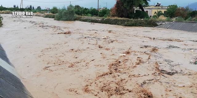 Αργολίδα: Φούσκωσε ο Ξεριάς στο Άργος  - Κίνδυνος να ξεχειλίσει - Εκκενώθηκαν σπίτια