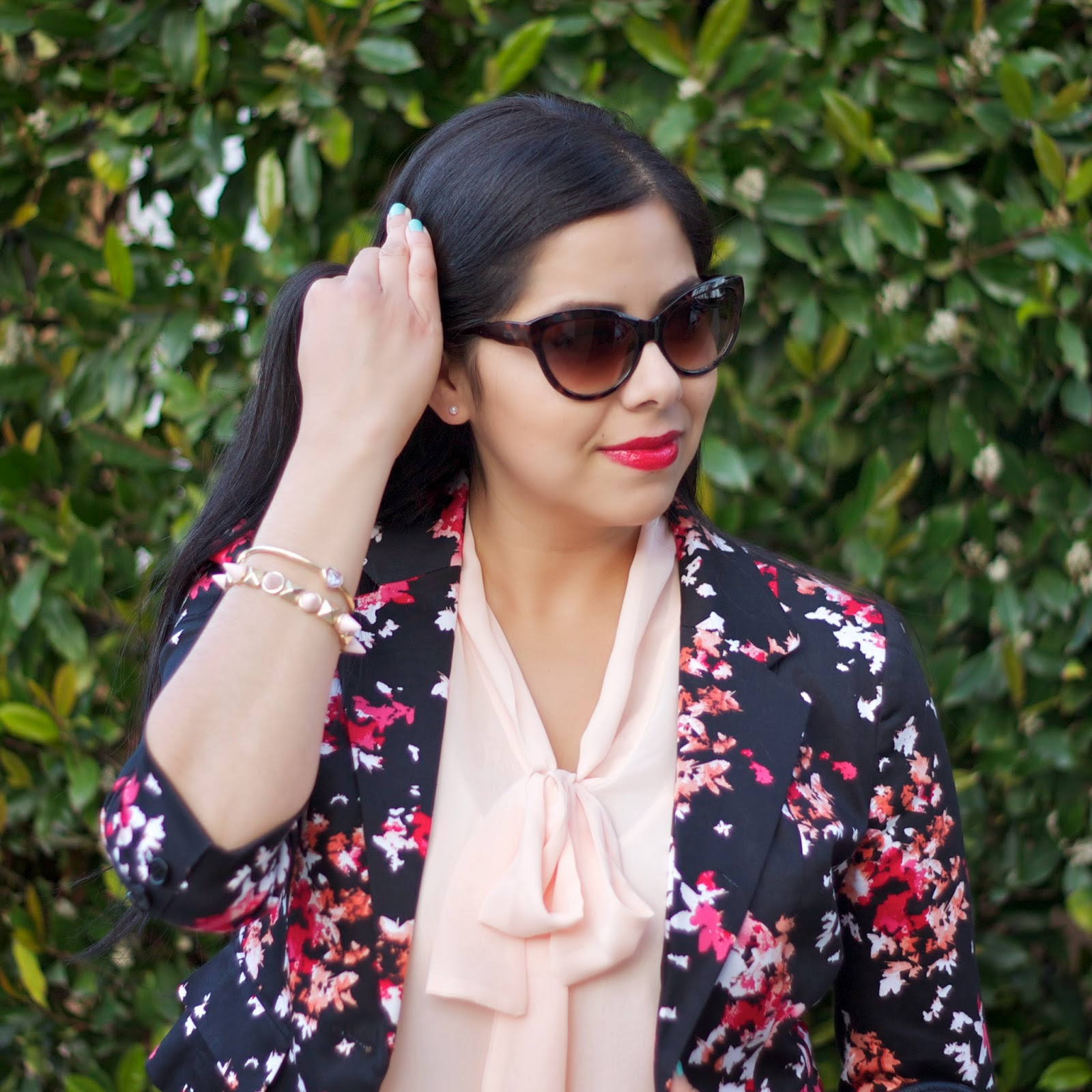 Forever 21 Pink Bow Tie Front Top, Forever 21 pink and red floral blazer