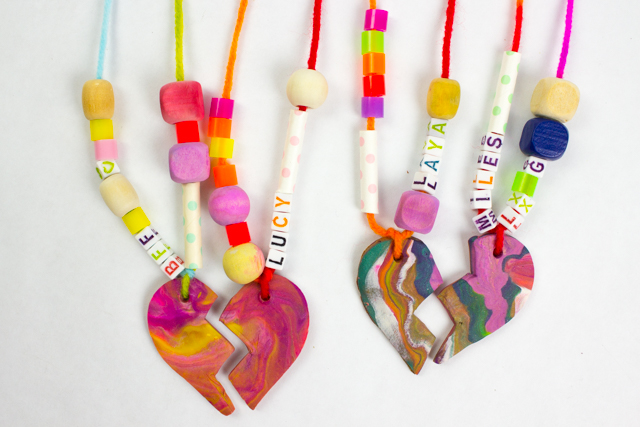 How to Make Best Friend Clay Necklaces with Kids- Such a fun and easy craft for the whole family!