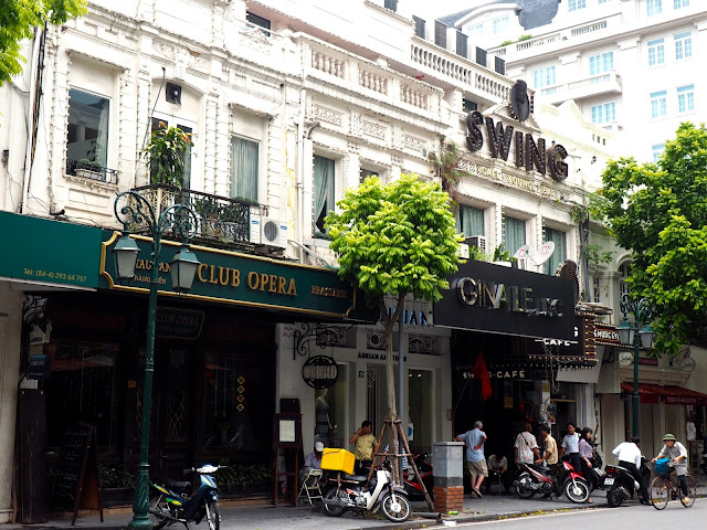 Building facades on a street of the French Quarter, Hanoi, Vietnam