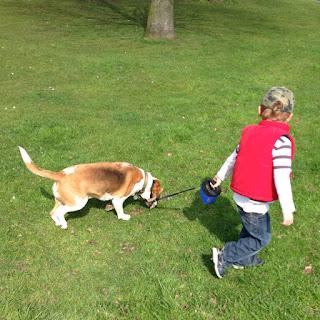 Autistic Anthony walking our dog