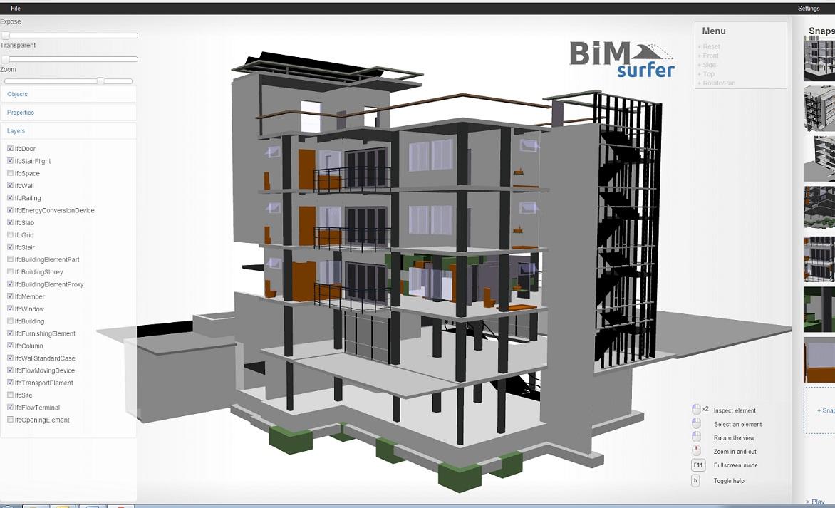 BIM Surfer open source (WebGL) web-based BIM viewer toolkit