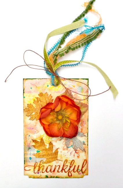 Mixed Media Fall Tag with Stamped Leaves and Ribbon