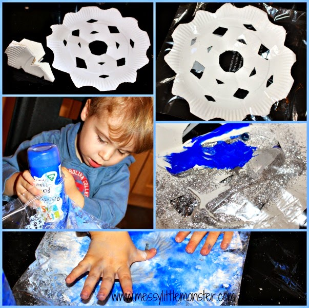 zip lock bag no mess painting A winter craft perfect for babies and toddlers.  sc 1 st  Messy Little Monster & No Mess Paper Plate Snowflakes - Messy Little Monster