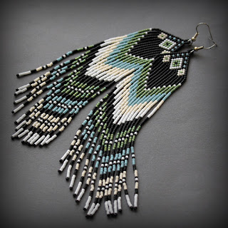 Схема серег из бисера Beaded earrings free pattern бисероплетение серьги с бахромой