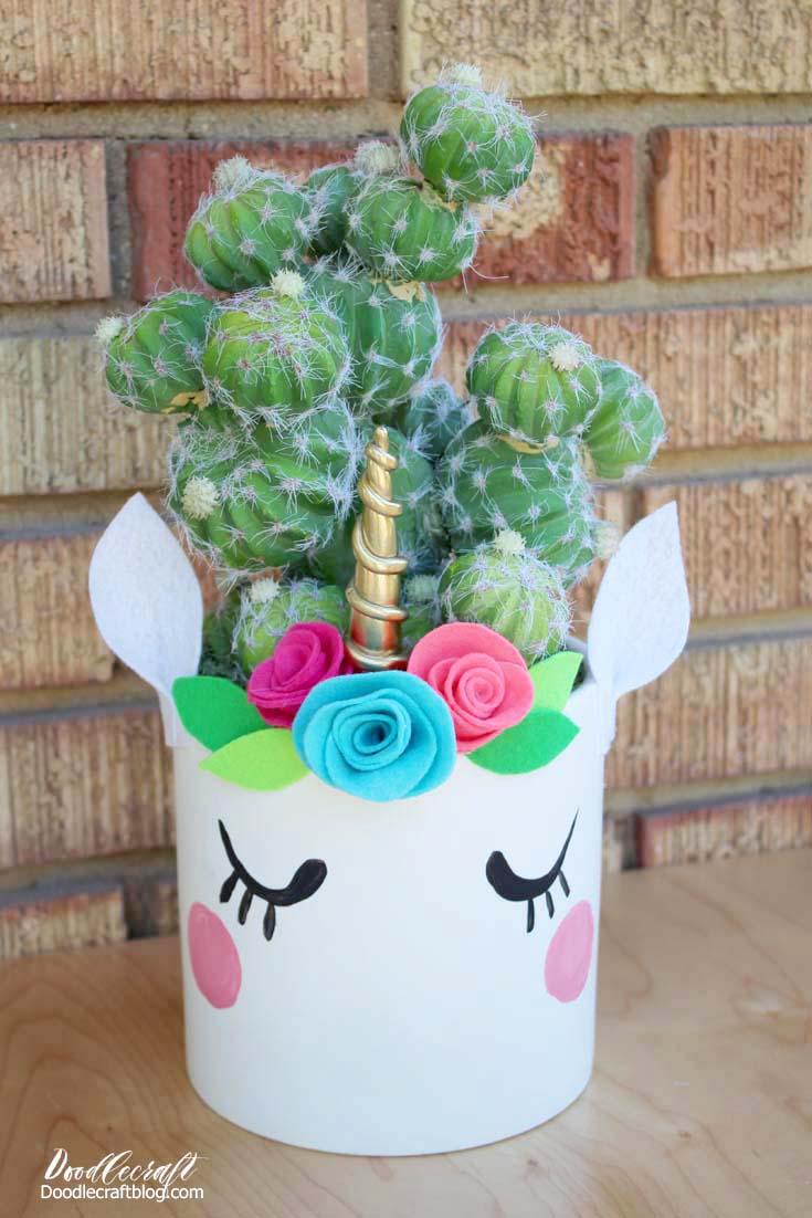 Unicorn Cactus Flower Planter Pots Craft Diy