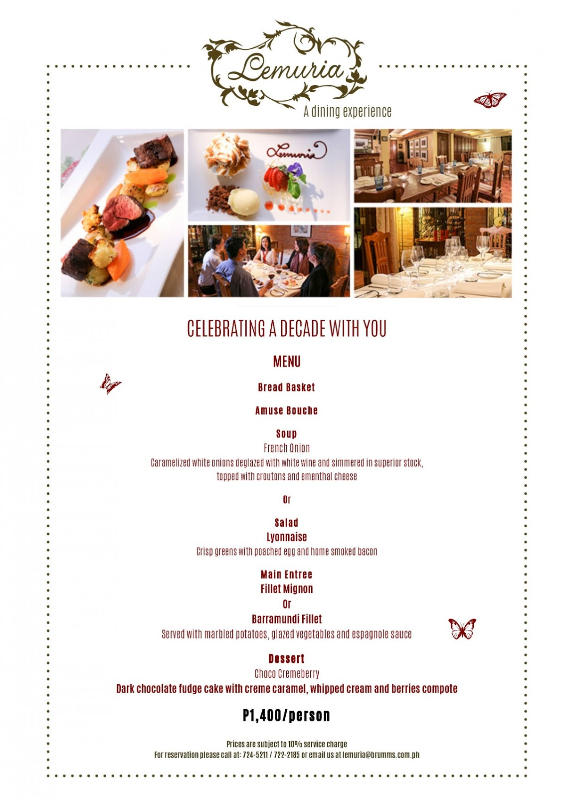 Lemuria Gourmet Restaurant Menu