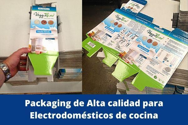 packaging cajas alta calidad para productos colocados en lineal de tienda
