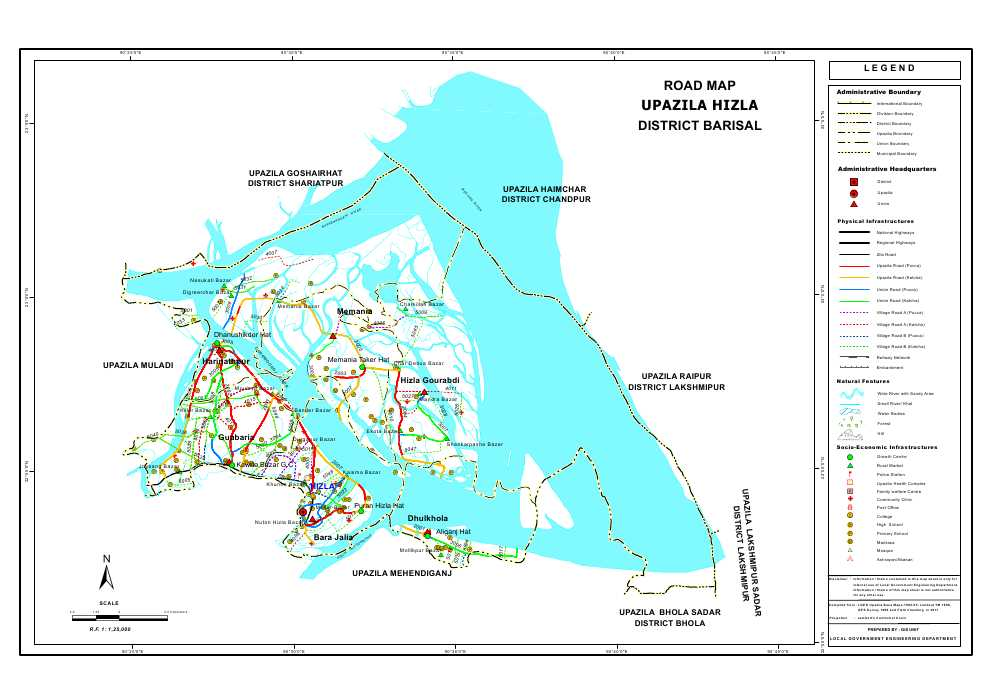 Hizla Upazila Road Map Barisal District Bangladesh