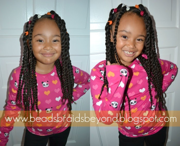 Beads, Braids And Beyond: Banded Two Strand Twist Ponytails